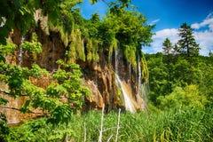 Η όμορφη άποψη των καταρρακτών στις λίμνες Plitvice Το νερό είναι σαφές και τυρκουάζ στοκ φωτογραφίες με δικαίωμα ελεύθερης χρήσης