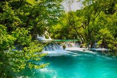 Η όμορφη άποψη των καταρρακτών στις λίμνες Plitvice Το νερό είναι σαφές και τυρκουάζ στοκ φωτογραφίες