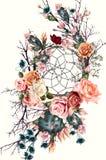 Η όμορφη απεικόνιση boho με το dreamcatcher, αυξήθηκε λουλούδια και Στοκ Εικόνες