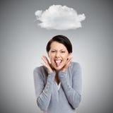 Η όμορφη γυναίκα βάζει έξω τη γλώσσα στοκ εικόνες με δικαίωμα ελεύθερης χρήσης