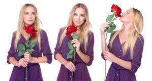 Η όμορφη γυναίκα με το κόκκινο αυξήθηκε Στοκ εικόνα με δικαίωμα ελεύθερης χρήσης