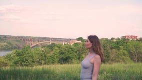 Η όμορφη γυναίκα πηγαίνει, κοιτάζει προς τα εμπρός στα πλαίσια των πράσινων δέντρων, χλόη, ποταμός, γέφυρα, χωριό, σπίτια, φύση απόθεμα βίντεο