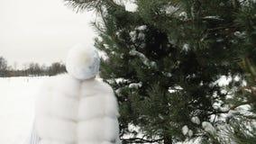 Η όμορφη γυναίκα στο άσπρο φόρεμα τρέχει και χαίρεται το χειμώνα απόθεμα βίντεο