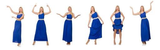Η όμορφη γυναίκα στο πολύ φόρεμα που απομονώνεται μπλε στο λευκό Στοκ Φωτογραφίες