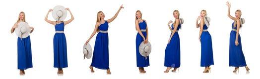 Η όμορφη γυναίκα στο πολύ φόρεμα που απομονώνεται μπλε στο λευκό Στοκ Εικόνες