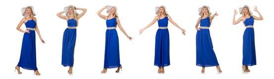 Η όμορφη γυναίκα στο πολύ φόρεμα που απομονώνεται μπλε στο λευκό Στοκ εικόνες με δικαίωμα ελεύθερης χρήσης