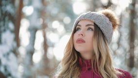 Η όμορφη γυναίκα στο χειμερινό καπέλο χαμογελά να σταθεί έξω στο χιόνι στο δάσος απόθεμα βίντεο