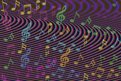 Η όμορφη ζωηρόχρωμη μουσική σημειώνει το υπόβαθρο Στοκ φωτογραφία με δικαίωμα ελεύθερης χρήσης