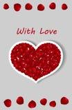 η όμορφη κάρτα δεσμών ανθίζει την καρδιά κοριτσιών Στοκ Εικόνα