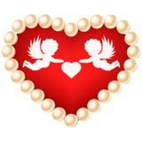 η όμορφη κάρτα δεσμών ανθίζει την καρδιά κοριτσιών Στοκ φωτογραφία με δικαίωμα ελεύθερης χρήσης
