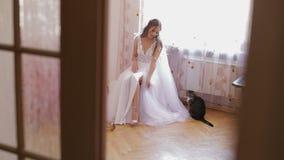 Η όμορφη και καλή νύφη στο γαμήλιο φόρεμα κάθεται σε μια καρέκλα και εξετάζει τα παπούτσια της Η γάτα κάθεται κοντά στη γυναίκα Γ φιλμ μικρού μήκους