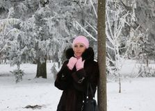 Η όμορφη και πλούσια γυναίκα στο παλτό γουνών θέτει κοντά στο δέντρο στοκ φωτογραφία με δικαίωμα ελεύθερης χρήσης