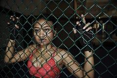 Η όμορφη και προκλητική ασιατική γυναίκα μαχητών στην πάλη των γαντιών και των αθλητικών ενδυμάτων μέσα σε MMA εγκλωβίζει την τοπ Στοκ Φωτογραφία