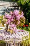 Η όμορφη και ρομαντική σκηνή στον εγχώριο κήπο με ένα βάζο του ιαπωνικού δέντρου κερασιών ανθίζει Στοκ Εικόνες