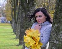 Η όμορφη νέα γυναίκα είναι στο πάρκο φθινοπώρου Στοκ Εικόνες