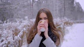 Η όμορφη νέα γυναίκα με το μίας χρήσης φλυτζάνι καφέ πίνει το τσάι ή τον καφέ υπαίθρια σε ένα χειμερινό πάρκο κίνηση αργή απόθεμα βίντεο