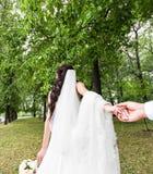 Η όμορφη νέα νύφη γυναικών κρατά το χέρι ενός άνδρα υπαίθρια Με ακολουθήστε Στοκ εικόνα με δικαίωμα ελεύθερης χρήσης