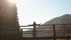 Η όμορφη νύμφη νέων κοριτσιών που στέκεται στην ξύλινη γέφυρα πέρα από τον ποταμό στα Καρπάθια βουνά και απολαμβάνει το ηλιοβασίλ φιλμ μικρού μήκους