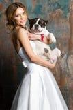 Η όμορφη νύφη κρατά ένα σκυλί Στοκ Φωτογραφία