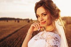 Η όμορφη νύφη σε ένα φόρεμα δαντελλών χαμογελά στο υπόβαθρο της φύσης στοκ εικόνες με δικαίωμα ελεύθερης χρήσης