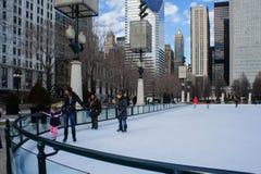 Η όμορφη περιοχή σκι στο Millennium Park, Σικάγο, Ιλλινόις Στοκ εικόνες με δικαίωμα ελεύθερης χρήσης