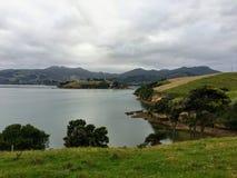 Η όμορφη πλευρά χωρών και μια άποψη του κόλπου Latham στη χερσόνησο Otago, έξω από Dunedin, Νέα Ζηλανδία στοκ εικόνα