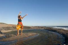 Η όμορφη ώριμη γυναίκα σε ευτυχή θέτει Στοκ φωτογραφίες με δικαίωμα ελεύθερης χρήσης