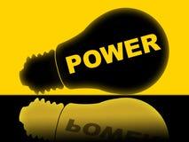 Η δύναμη Lightbulb αντιπροσωπεύει την ενέργεια ενεργοποιεί και τροφοδότησε Στοκ φωτογραφία με δικαίωμα ελεύθερης χρήσης