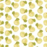 Η ώριμη Apple Άνευ ραφής ύφασμα πράσινο φύλλο Η κίτρινη υγρή Apple Στοκ Εικόνες