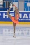 Η Anna Cherezova από τη Μολδαβία εκτελεί τη χρυσή κατηγορία IV ελεύθερο πρόγραμμα πατινάζ κοριτσιών για το εθνικό πρωτάθλημα πατι Στοκ Φωτογραφία