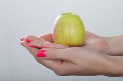 Η Apple είναι στα χέρια γυναικών Στοκ εικόνες με δικαίωμα ελεύθερης χρήσης