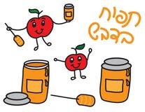 Η Apple και το μέλι doodle clipart θέτουν απομονωμένος απεικόνιση αποθεμάτων