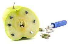 Η Apple κόλλησε με τα καρφιά, λεπτομέρεια φρούτων με το σίδηρο, εργαλείο Στοκ εικόνες με δικαίωμα ελεύθερης χρήσης
