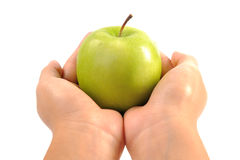 Η Apple στη γυναίκα δίνει κοντά επάνω Στοκ Φωτογραφία