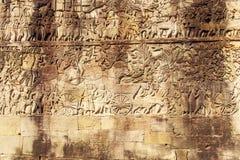 Η bas-ανακούφιση στον τοίχο του ναού BA Phuon, Angkor Thom, Siem συγκεντρώνει, Καμπότζη Στοκ Εικόνες