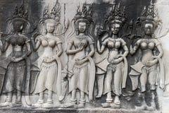 Η bas-ανακούφιση του ναού Angkor Wat σε Siem συγκεντρώνει, Καμπότζη Στοκ Εικόνα