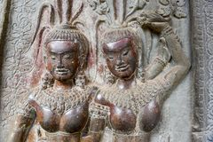 Η bas-ανακούφιση του ναού Angkor Wat σε Siem συγκεντρώνει, Καμπότζη Στοκ φωτογραφία με δικαίωμα ελεύθερης χρήσης