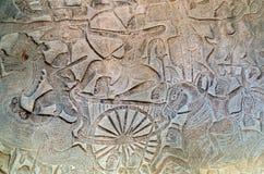 Η bas-ανακούφιση Angkor Wat, Siem συγκεντρώνει, Καμπότζη Στοκ Εικόνες