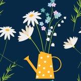 Η Daisy, με ξεχνά όχι και τα chamomile λουλούδια άνοιξη στο κίτρινο πότισμα μπορούν Υπόβαθρο χωρών Πάσχας ή καλοκαιριού, άνευ ραφ απεικόνιση αποθεμάτων