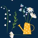 Η Daisy, με ξεχνά όχι και τα chamomile λουλούδια άνοιξη στο κίτρινο πότισμα μπορούν Υπόβαθρο χωρών Πάσχας ή καλοκαιριού, άνευ ραφ διανυσματική απεικόνιση