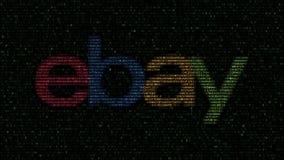 η eBay Α λογότυπο φιαγμένο από λάμποντας δεκαεξαδικά σύμβολα στη οθόνη υπολογιστή Εκδοτική τρισδιάστατη απόδοση φιλμ μικρού μήκους