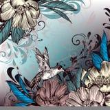 Η Floral διανυσματική απεικόνιση με τα λουλούδια, κολίβριο και Στοκ Εικόνες
