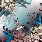 Η Floral διανυσματική απεικόνιση με τα λουλούδια, κολίβριο και Στοκ φωτογραφίες με δικαίωμα ελεύθερης χρήσης