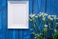Η Floral σύνθεση με camomile και το πλαίσιο στο μπλε ξύλινο επίπεδο υποβάθρου βάζουν το πρότυπο Στοκ Φωτογραφία