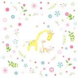 Η giraffe ευχετήρια κάρτα κινούμενων σχεδίων Στοκ Φωτογραφία