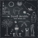 Η Handdrawn απεικόνιση των ορόσημων της Σαουδικής Αραβίας και τα εικονίδια με το αγγλικό αραβικό σύγχρονο doodle χωρών σκιαγραφού Στοκ Εικόνες