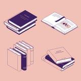 Η Isometric διανυσματική απεικόνιση βιβλίων έθεσε - απομονωμένο κλειστό και ανοικτό λογοτεχνία ή ημερολόγιο εγγράφου με τους σελι διανυσματική απεικόνιση