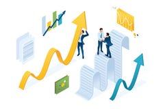 Η Isometric συμφωνία συλλογής δεδομένων, επιχειρηματίες συλλέγει τις πληροφορίες και τις κτίζει Έννοια για το σχέδιο Ιστού απεικόνιση αποθεμάτων