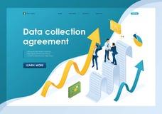 Η Isometric συμφωνία συλλογής δεδομένων, επιχειρηματίες συλλέγει τις πληροφορίες και τις κτίζει ( απεικόνιση αποθεμάτων