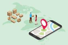 Η Isometric τρισδιάστατη σε απευθείας σύνδεση έννοια υπηρεσιών παράδοσης με τους ανθρώπους παραδίδει τη διαταγή με app smartphone διανυσματική απεικόνιση